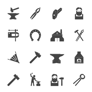 Decorative blacksmith shop anvil vise tools graphic icons set isolated vector illustrationのイラスト素材 [FYI03092288]