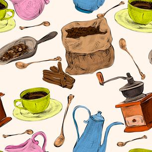 Decorative retro coffee set design cappuccino cup cream sugar color handdrawn seamless background doのイラスト素材 [FYI03092289]