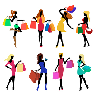 Shopping girl female figure silhouettes with sale bags isolated vector illustration.のイラスト素材 [FYI03092291]