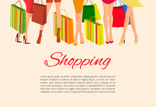 Young sexy  girls slim legs and with fashion bags shopping poster vector illustrationのイラスト素材 [FYI03092292]