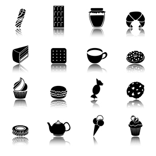 Pastry and sweets black icons set of cup cake ice cream donut isolated vector illustrationのイラスト素材 [FYI03092293]
