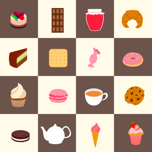 Fresh pastry and sweets set with tea cup and pot isolated vector illustrationのイラスト素材 [FYI03092294]