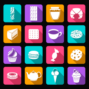 Pastry and sweets icons set of croissant layered cake cookies isolated vector illustrationのイラスト素材 [FYI03092295]