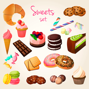 Delicious sweets and fresh pastry set of croissant ice cream cookies isolated vector illustrationのイラスト素材 [FYI03092296]