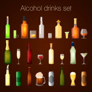 Alcohol drinks bottles and glass set of wine beer champagne martini isolated vector illustrationのイラスト素材 [FYI03092299]
