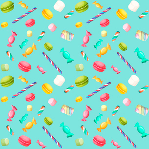 Sweets candy seamless pattern with macaron and marshmallow vector illustrationのイラスト素材 [FYI03092300]