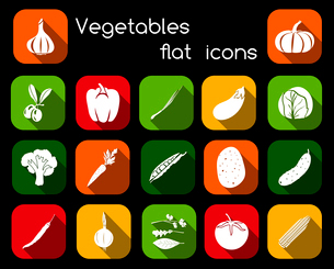 Vegetable organic food flat icons set of olive pepper chives cabbage isolated vector illustration.のイラスト素材 [FYI03092302]