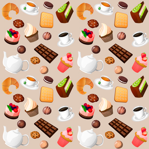 Coffee and sweets seamless background of cakes chocolate biscuits vector illustrationのイラスト素材 [FYI03092303]