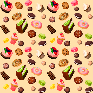 Sweets seamless background of cakes chocolate biscuits macaron donut vector illustrationのイラスト素材 [FYI03092304]
