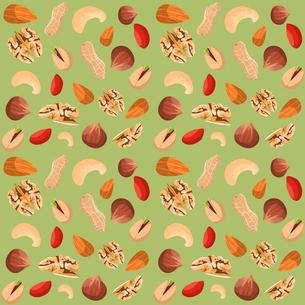 Nut mix seamless pattern of dried peanut walnut hazelnut pistachio vector illustrationのイラスト素材 [FYI03092307]