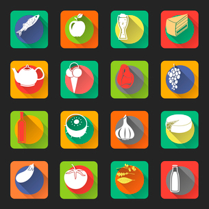 Food flat icons set of fish drink bottles and vegetables isolated vector illustrationのイラスト素材 [FYI03092308]
