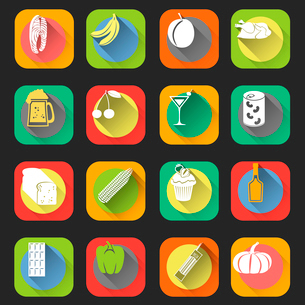 Food flat icons set of bread cherry cocktail glass isolated vector illustrationのイラスト素材 [FYI03092309]