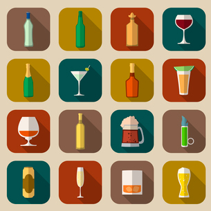 Alcohol drinks bottles and glass icons flat set of tequila vermouth whiskey isolated vector illustraのイラスト素材 [FYI03092310]