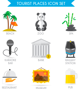 Building decorative tourist places icons set of beach zoo spa isolated vector illustrationのイラスト素材 [FYI03092312]