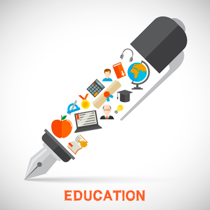 Education school university concept with pen and learning icons vector illustrationのイラスト素材 [FYI03092315]
