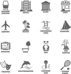 Building tourism icons set of railway station hotel bank cafe isolated vector illustrationのイラスト素材 [FYI03092316]
