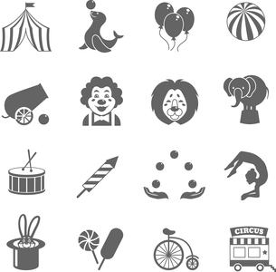Circus graphic pictograms of juggling sealion acrobat stunt collection black icons set isolated vectのイラスト素材 [FYI03092317]