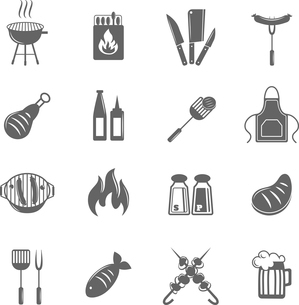 Fish and meat bbq food fire outdoor party icons set isolated vector illustrationのイラスト素材 [FYI03092319]