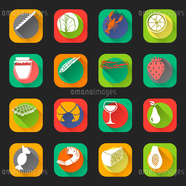 Food flat icons set of cabbage jam jar eggs wine glass isolated vector illustrationのイラスト素材 [FYI03092320]