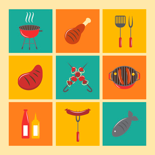Fish and meat bbq food fire outdoor party icons flat set isolated vector illustrationのイラスト素材 [FYI03092321]