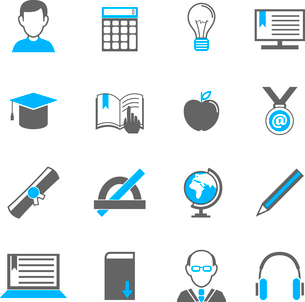 Education school university e-learning icons set of graduation diploma student teacher isolated vectのイラスト素材 [FYI03092322]