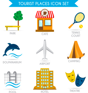 Tourist places decorative icons set of park cafe tennis court isolated vector illustrationのイラスト素材 [FYI03092323]