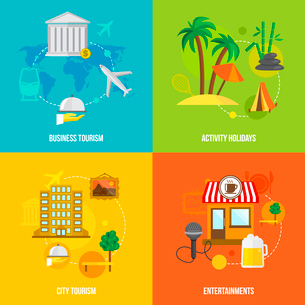 Building tourism icons flat set of business activity holidays city entertainments isolated vector ilのイラスト素材 [FYI03092324]