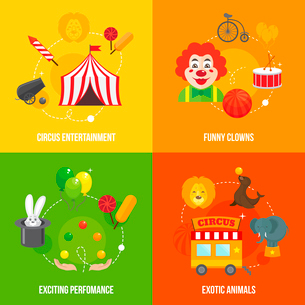 Four retro travel circus funny clown entertainment performance with exotic animals icons compositionのイラスト素材 [FYI03092326]