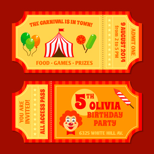 Two vintage circus tickets with clown pavilion tent balloons and candy isolated vector illustrationのイラスト素材 [FYI03092327]
