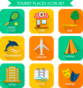 Tourist places decorative icons set of airport camping hotel isolated vector illustrationのイラスト素材 [FYI03092328]