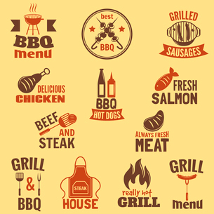 Bbq grill label best premium quality fish and meat barbeque set isolated vector illustrationのイラスト素材 [FYI03092330]