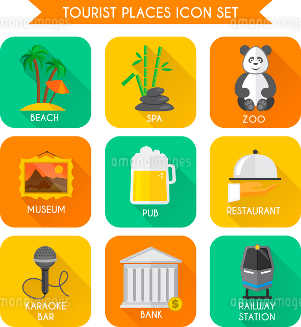 Decorative tourist places icons set of beach zoo spa isolated vector illustrationのイラスト素材 [FYI03092331]
