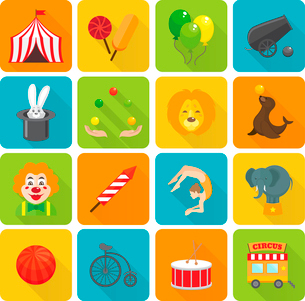 Funny smiling circus clown juggling with balls and magic hat rabbit focus flat isolated vector illusのイラスト素材 [FYI03092332]