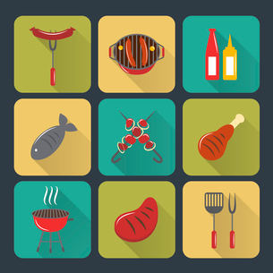 Fish and meat bbq food grilled sausages and steak flat set isolated vector illustrationのイラスト素材 [FYI03092333]