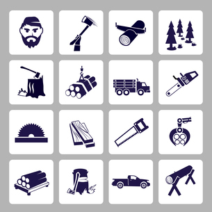 Lumberjack woodcutter icons set of wood log saw tree  isolated vector illustrationのイラスト素材 [FYI03092335]