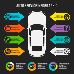 Auto mechanic car service infographic template with charts and maintenance elements vector illustratのイラスト素材 [FYI03092336]