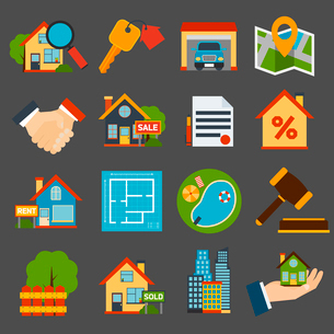 Real estate icons set of house key garage swimming pool  isolated vector illustrationのイラスト素材 [FYI03092341]