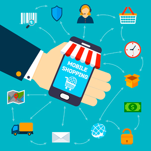 Human hand holding mobile phone shopping concept vector illustrationのイラスト素材 [FYI03092342]