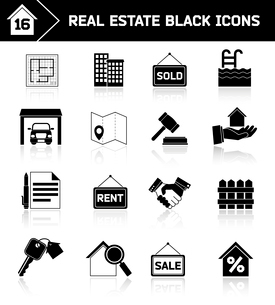 Real estate black icons set of house plan apartment valuation and choosing isolated vector illustratのイラスト素材 [FYI03092343]