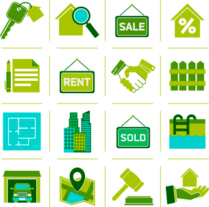 Real estate green icons set of property rent commercial management isolated vector illustrationのイラスト素材 [FYI03092344]