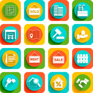 Real estate flat icons set of house valuation commission and searching isolated vector illustrationのイラスト素材 [FYI03092346]