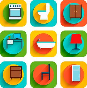 House interiors flat icon set of oven toilet bowl wardrobe isolated vector illustrationのイラスト素材 [FYI03092349]