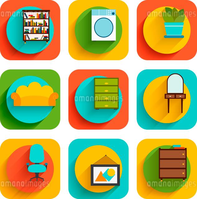 House interiors flat icon set of book shelf washing machine flower pot isolated vector illustrationのイラスト素材 [FYI03092350]