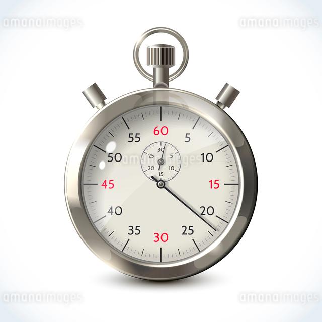 Realistic metallic stopwatch sport chronometer isolated on white background vector illustrationのイラスト素材 [FYI03092352]