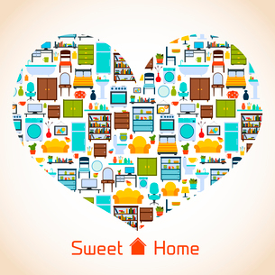 Interior furniture sweet home concept with icons in heart shape vector illustrationのイラスト素材 [FYI03092353]