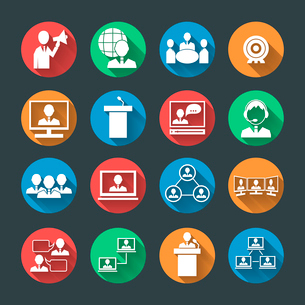 Business people meeting at office online conference presentation icons set isolated vector illustratのイラスト素材 [FYI03092355]