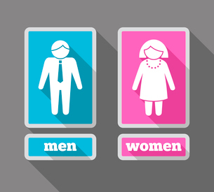 Women and men restroom symbols colored icons set isolated vector illustrationのイラスト素材 [FYI03092356]