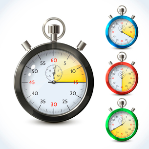 Realistic metallic stopwatch countdown speed sport chronometer set isolated vector illustrationのイラスト素材 [FYI03092357]