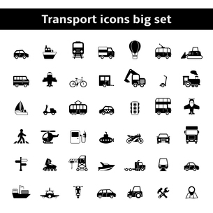 Set of universal transportation vehicles pictograms for mobile app or infographics presentation isolのイラスト素材 [FYI03092360]