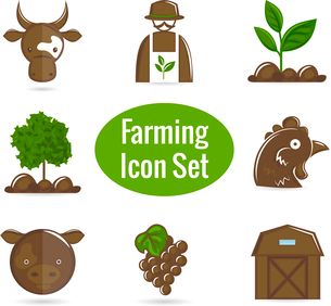 Farming harvesting and agriculture decorative icons set of livestock farmer and  harvest isolated veのイラスト素材 [FYI03092361]